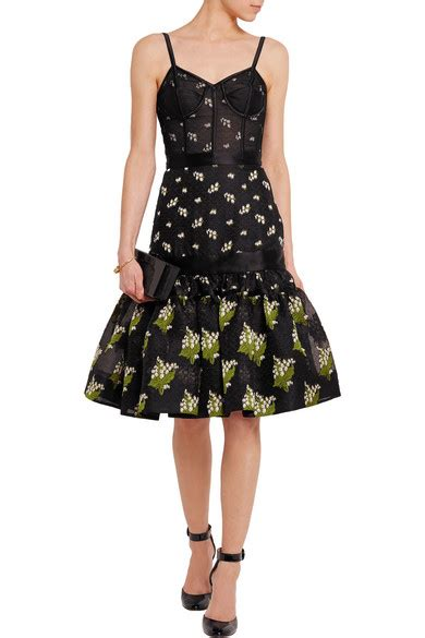 Friday Afternoon Dresses From Net A Porter by Mcqueen Satin Trimmed Silk Blend Jacquard And