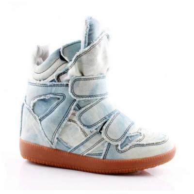 Wadges Boot Denim Sneakers Denim marant denim blue jean style high top wedge sneakers