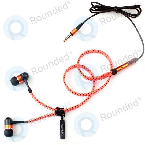 Promo Headset Zipper Earphones Rounded Fly Zipper Stereo Headset Black Orange
