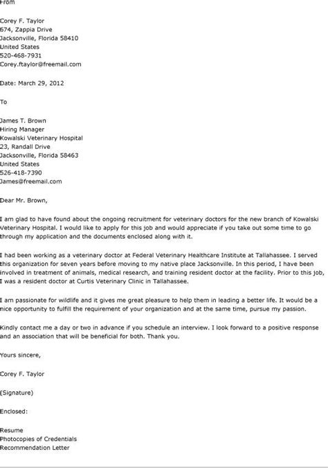 veterinarian cover letter cover letter for veterinary receptionist