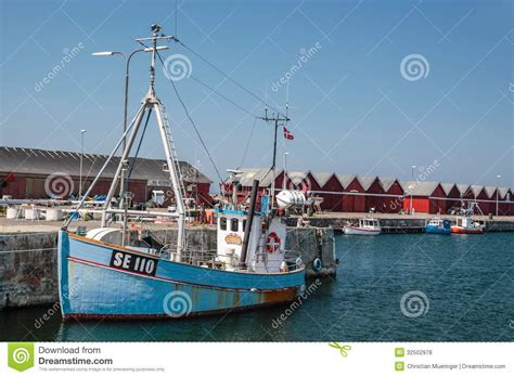 boat license denmark old blue fishing boat editorial stock photo image 32502978
