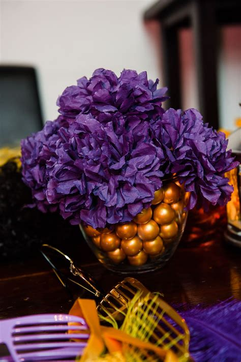 paper flower table centerpiece purple and gold centerpiece