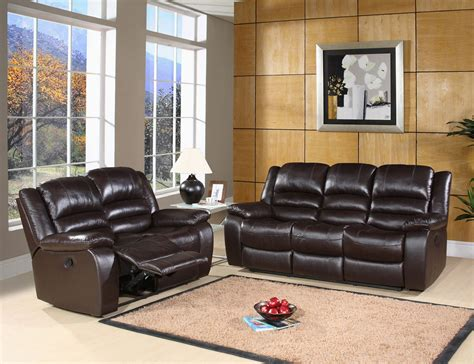 leather reclining sofa and loveseat abbyson avalon reclining leather sofa and loveseat dark
