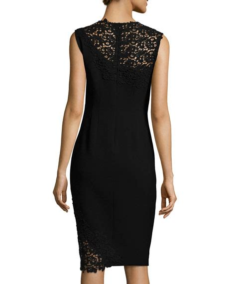 Emory Lace elie tahari emory sleeveless sheath dress with lace detail