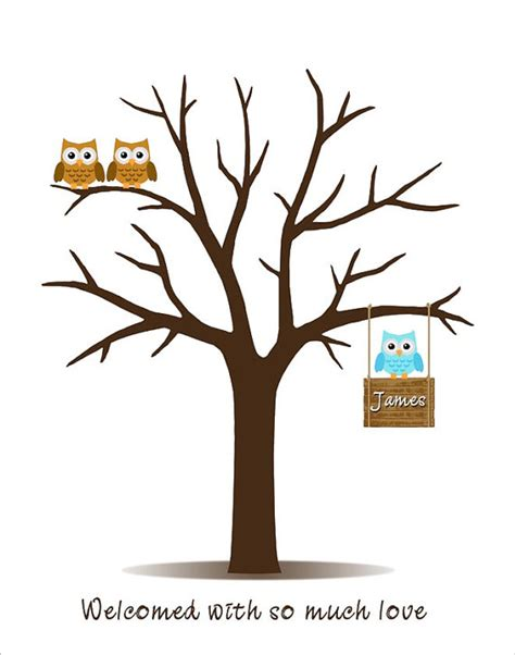 printable family tree guest book baby shower guest book fingerprint tree with owl family