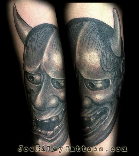 black and grey tattoo artists near me japanese hanya mask tattoo by joe riley tattoonow