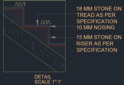 R.C.C. Staircase Sectional Tread and Riser Detail   Plan n