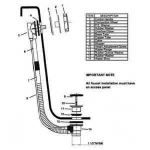 Bathtub Plumbing Overflow Drain Ld10110 Cable Driven Waste And Overflow Bath Tub Drain