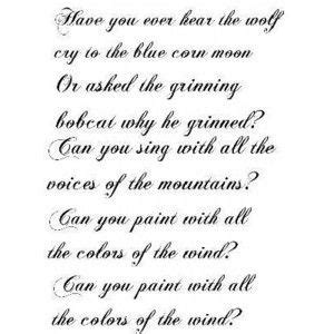 colors of wind lyrics pocahontas colors of the wind lyrics www pixshark