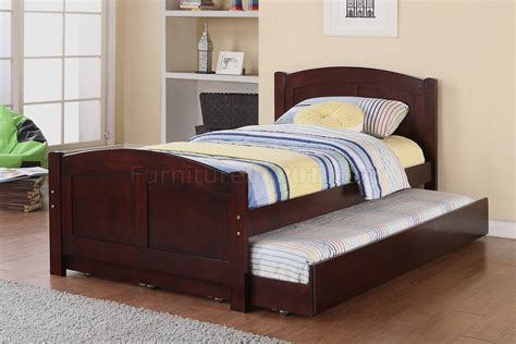 Kid Trundle Bed Set F9217 Bedroom 3pc Set By Poundex In Cherry W Trundle Bed