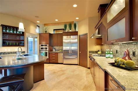 pictures  kitchens modern medium wood kitchen