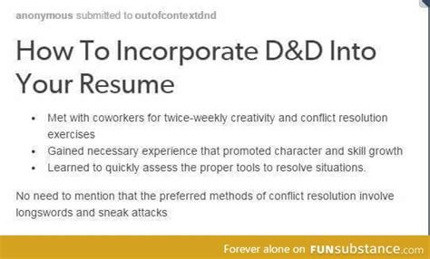 Resume Writing Meme How To Incorporate D D Into Your Resume Funsubstance