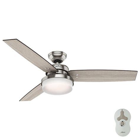 hunter regalia brushed nickel ceiling fan hunter sentinel 52 in led indoor brushed nickel ceiling