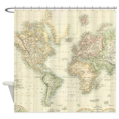 geography shower curtain vintage map of the world 1872 shower curtain by admin