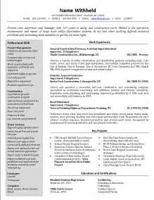 supervisor resume templates crew supervisor resume exle sle construction resumes