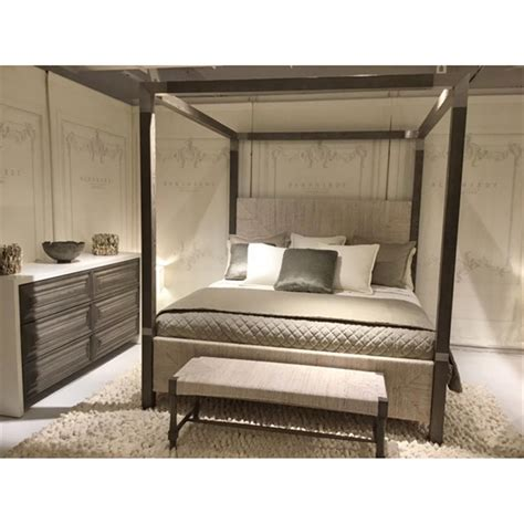 rustic canopy bed clarcia coastal rustic grey abaca nickel canopy bed king