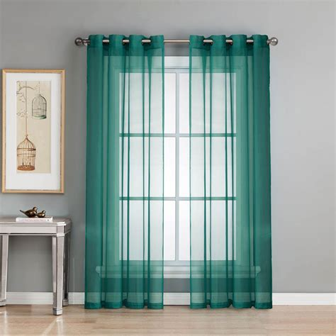 Grey And Teal Curtains Window Elements Sheer Sheer Voile Grey Teal Grommet Wide Curtain Panel 56 In W X