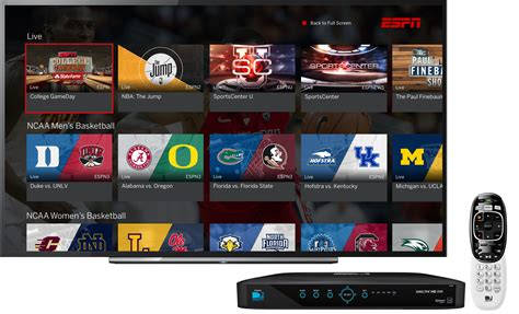 espn app on at t directv set top boxes espn mediazone u s