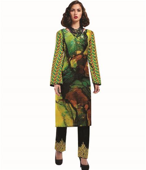 Venya Dress venya style yellow crepe printed designer casual wear