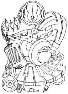 coloring page music headphones and microphone 14