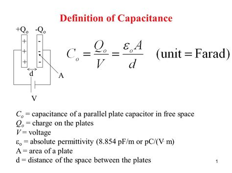 capacitance for a parallel plate capacitor definition of capacitance ppt