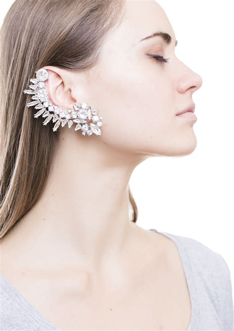 rock chic statement ear cuff in silver happiness