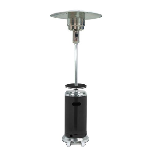 Stainless Steel Gas Patio Heater Az Patio Heaters 41 000 Btu Stainless Steel Black Gas Patio Heater Hlds01 Ssblt The Home Depot