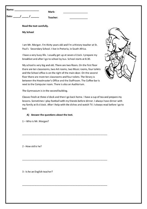reading exercises for elementary school my school reading comprehension worksheet