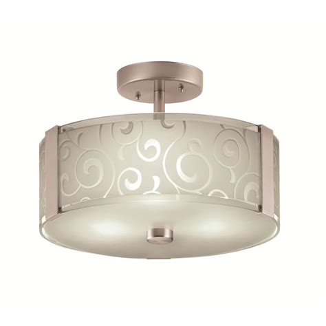 Shop Ceiling Lights Shop Portfolio 13 In W Brushed Steel Frosted Glass Semi Flush Mount Ceiling Light At Lowes