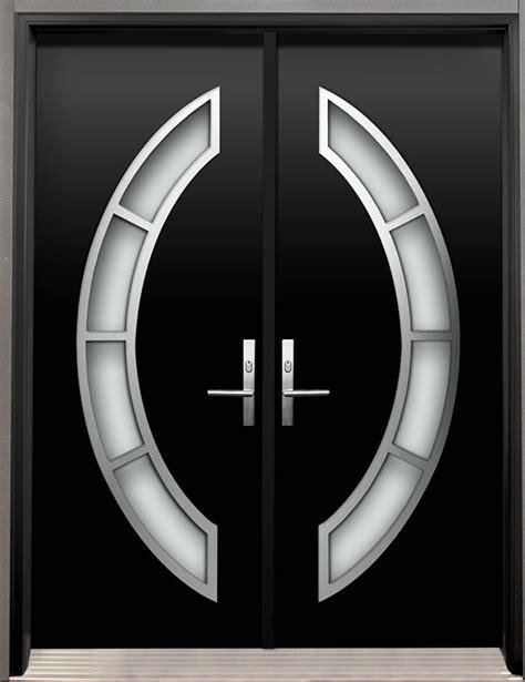 modern wood door  stainless steel arch design