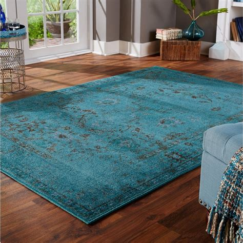 10 X 12 Area Rugs Blue Teal Gray Ivory - dyed distressed traditional teal grey area rug 9 10