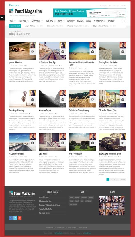 wordpress themes book review ponzi responsive wordpress theme magazine review by