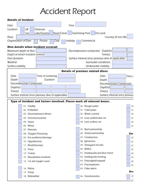 Free Vehicle Accident Report Form Template