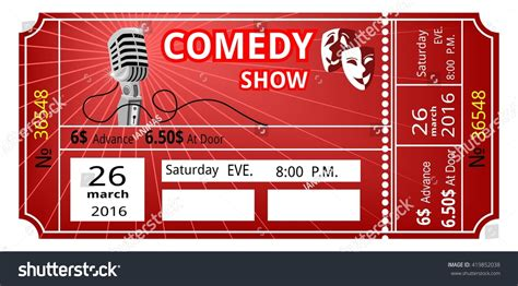 Ticket Comedy Show Fun Concert Invitation Image Vectorielle 419852038 Shutterstock Comedy Show Ticket Template