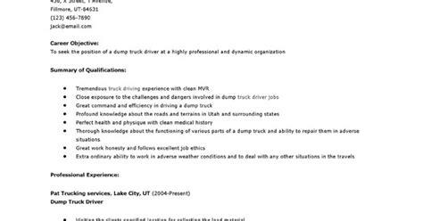 Dump Truck Driver Resume by Resume Sles Dump Truck Driver Resume