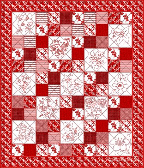 Redwork Quilt by Redwork Floral Quilt Digital By Margaret Newcomb