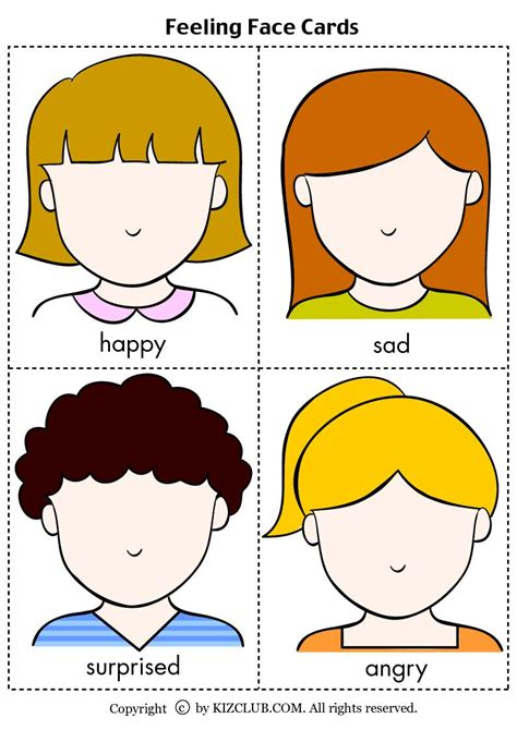 printable feeling faces cards face cards feelings