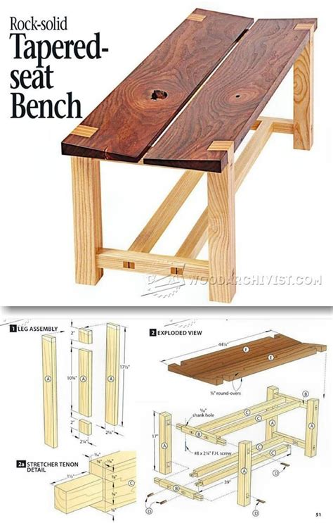 tapered seat bench plans outdoor furniture plans