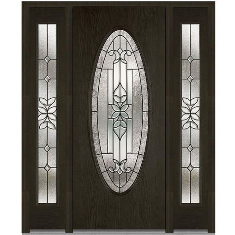 Oval Glass Doors Milliken Millwork 64 5 In X 81 75 In Cadence Decorative Glass Oval Finished Fiberglass