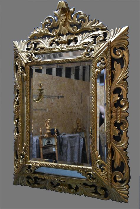 Large 19th Century Italian Carved Giltwood Large Late 19th Century Italian Florentine Carved Giltwood Cushion Mirror 1880 Italy From