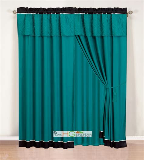 Teal Blue Curtains Drapes 4 Pc Quilted Geometric Medallion Curtain Set Teal Blue Green Black Ivory Valance Ebay