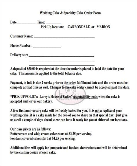 Wedding Cake Order Form by 12 Cake Order Form Sle Free Sle Exle Format