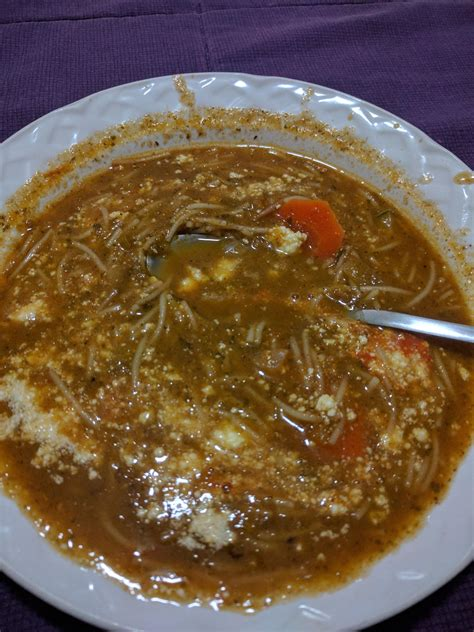 brown vomit noodle vegetable soup with cheese turned a vomit brown color shittyfoodporn