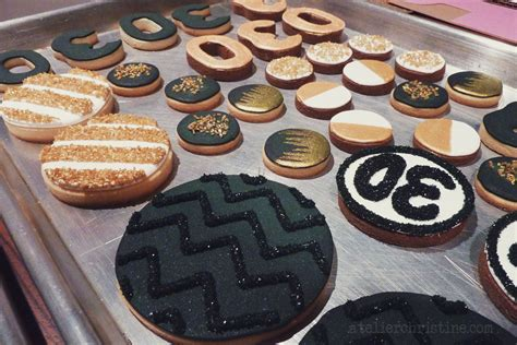 Handmade Cookies - real 30th birthday soiree in black white and