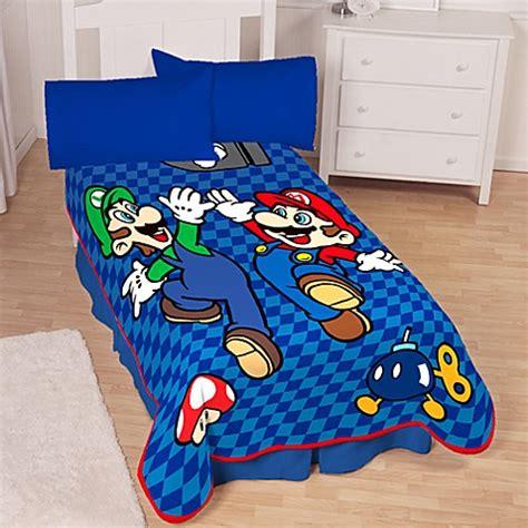 super mario bedding super mario bros 174 twin blanket bedbathandbeyond com