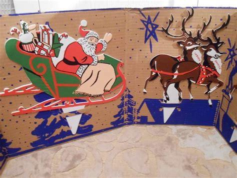santa and sleigh yard art santa sleigh reindeer yard vintage display original