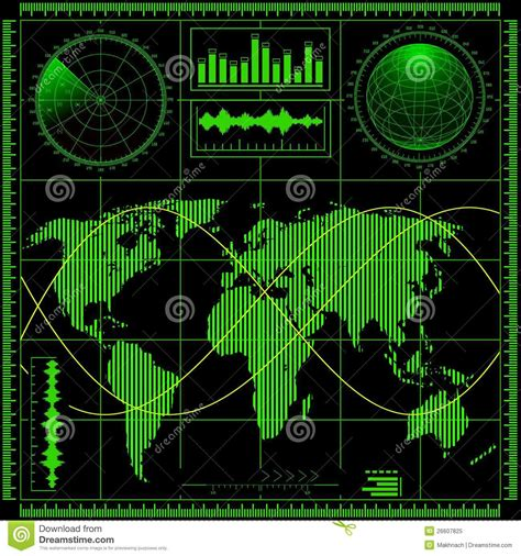 radar map radar screen with world map royalty free stock photo