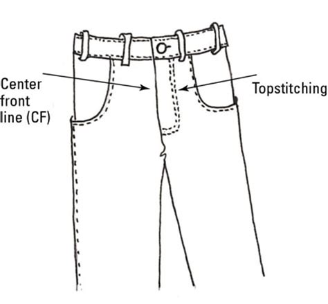 draw with measurements draw the waistband belt loops and flys to fashion
