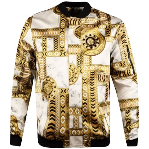 Jacket Ver Sace versace versace white gold printed bomber