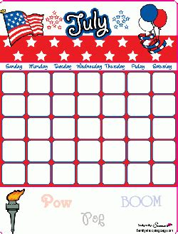 calendar, 4th of july, calendars free printable ideas